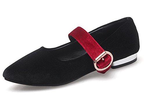 AalarDom Femme Pointu à Talon Bas Suédé Couleur Unie Tire Chaussures Légeres Noir y1dlhmQ