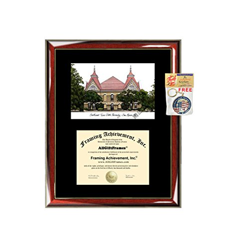 Texas State University Formerly Southwest Texas State University Diploma Frame Lithograph College Degree Framing Certificate Black Matted Graduate Gift University Diploma Frame (College Lithograph)