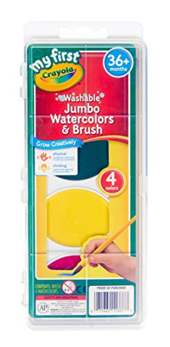 Crayola My First Jumbo Washable Watercolors & Brush, 4 Classic Colors Non-Toxic Art Tools for Kids & Toddlers 3 & Up, Great for Preschools & Classrooms