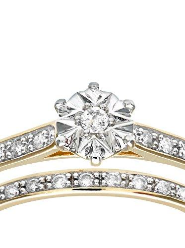 Revoni - Ensemble bague de fiançailles et alliance en or jaune 9 carats et diamants