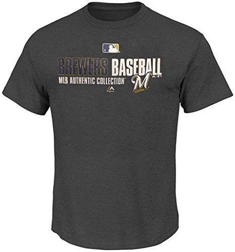 Majestic Milwaukee Brewers Team AC On Field Mens Charcoal Shirt Big & Tall Sizes (4XT)