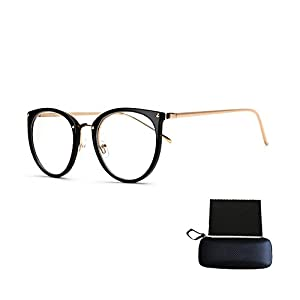 Pensenion Eyeglasses Frame Retro Round Eyeglasses Clear Lens Spectacle Frame with Glasses Box and Cleaning Cloth - Bright black