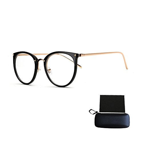 Pensenion Eyeglasses Frame Retro Round Eyeglasses Clear Lens Spectacle Frame with Glasses Box and Cleaning Cloth - Bright black - 130 Mm Eyeglasses