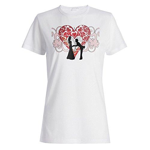 INNOGLEN Ich Liebe Dich Hochzeits-Herz-Neuheit-lustige Vintage Kunst Damen T-Shirt a174f White wc1uHsa5