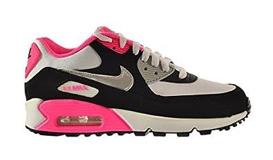 Nike Air Max 90 2007 GS White Metallic Silver Black Hyper Pink 345017 122 Womens Running Shoes 345017 122