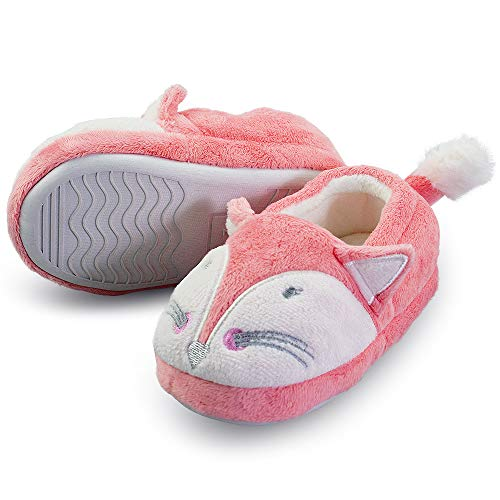 Boy's Comfort Scary Fox Indoor House Cartoon Slippers with Hard Solesize Little Kid 12 US Fox]()