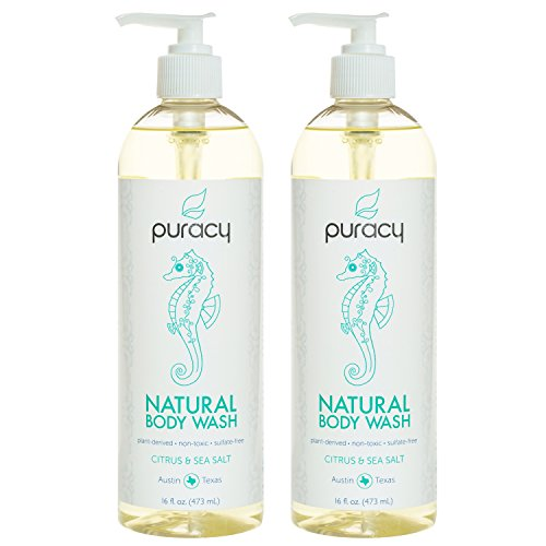 Puracy Natural Body Wash, Sulfate-Free Bath and Shower Gel, Citrus & Sea Salt, 16 Ounce, (Pack of 2) - Moisturizing Normal Skin Body Wash