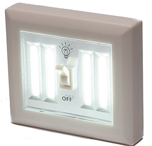 Battery Operated Wireless Light Switch Night Light Using 4 COB LED Technology perfect for Baby Nursery, Hallways, Bedrooms, Closets, RV. No Wiring Needed