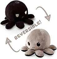 TeeTurtle | Reversible | Cute Mini Plushies | Black and Gray Octopus | Squish Often - Cuddle Daily | Show Your Mood with Emo