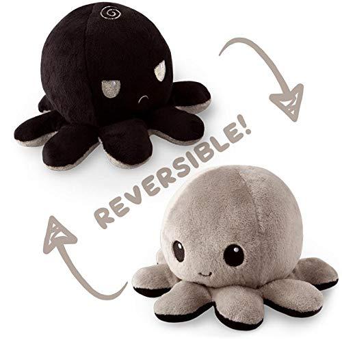 TeeTurtle Reversible Octopus Mini Plush - Stuffed Animal Toy, Black/Gray by TeeTurtle