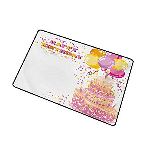(Diycon Antibacterial Doormat Kids Birthday Celebration Girl Themed Party Cake Candles Balloons Hearts Image Print W30 xL39 Easy to Clean)
