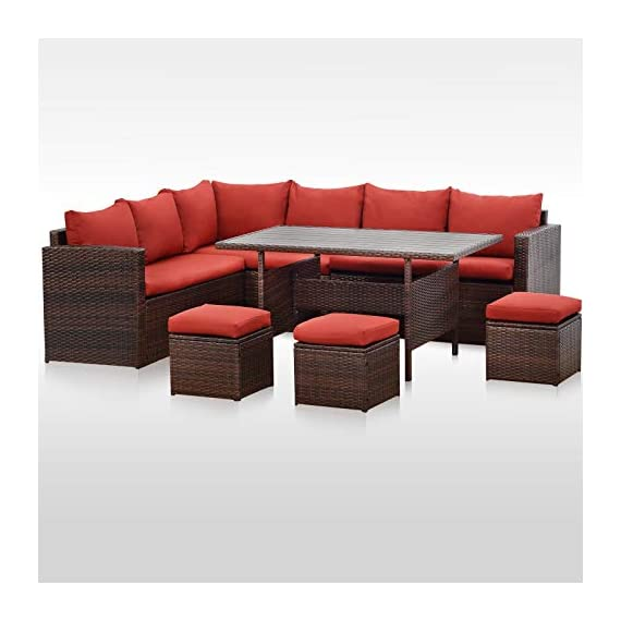 Wisteria Lane Patio Furniture Set, 7 PCS Outdoor Conversation Set All Weather Brown Wicker Sectional Sofa Couch Dining Table Chair with Ottoman,Wine Red Cushion - COMFORTABLE CUSHION - This outdoor patio dining set comes with durable beige fabric, can last for longer time. Thicker resilience sponge adds extra comfort for each moment. HANDWORK MATERIAL - Made of strong galvanized steel frame and all-weather hand woven PE rattan, give you a weather resistant set that will last your for years to come EXQUISITE DESIGN - Combine the functionality of wood and iron with the comfort of wicker has a refined classic style,easier to match any preexisting decor - patio-furniture, patio, conversation-sets - 41NRmN5 nGL. SS570  -