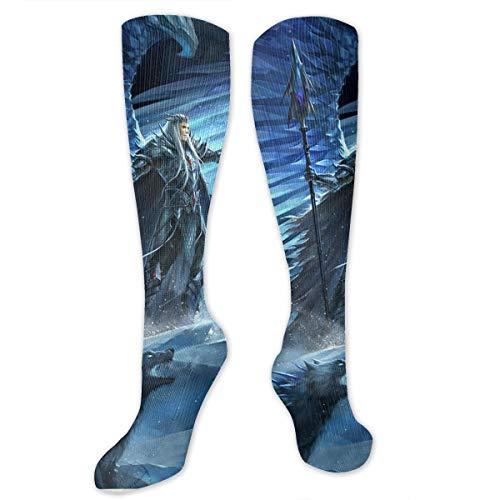 SARA NELL Knee High Socks God of War and Dragon Compression Socks Sports Athletic Socks Tube Stockings Long Socks Funny Personalized Gift Socks for Women Teens Girls]()
