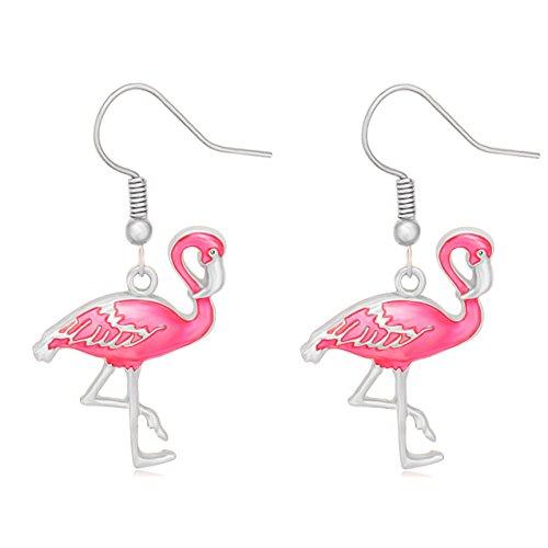 Cute Pink Enamel Flamingo Bird Dangle Earrings Women Jewelry Beautiful 3 Tone (Silver)