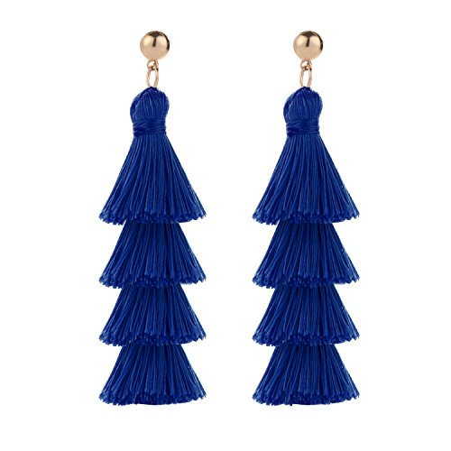 BaubleStar Fashion Gold Tassel Dangle Earrings Layered Long Bonita Tiered Thread Tassel Royal Blue Drop Statement Jewelry for Women Girls BAN0054B