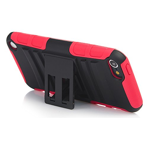 ation Case, Rugged Hybrid Dual Layer Protection Kickstand Full Cover Case with Video Watching Stand for Apple iPod Touch 6 6th Gen 5 5th Gen (Red) (Itouch Ipod Video)
