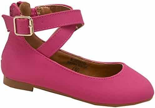 abece01e181f Bella Marie Girls Fuchsia Criss Cross Buckle Strap Casual Shoes 11-4 Kids