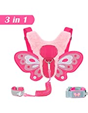 EPLAZA Toddler Baby Butterfly Harness with Anti Lost Wrist Link Leash for Child Kid Safety Walking (Butterfly Plush Rose)