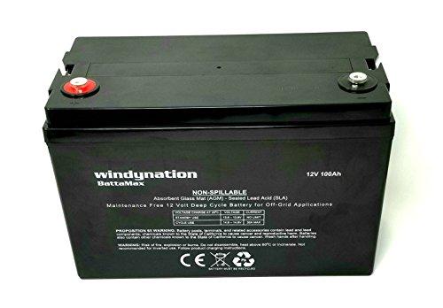 Windynation 100 Amp Hour 100ah 12v 12 Volt Agm Deep Cycle Sealed Lead Acid Battery Solar Rv Ups Off Grid 1 Pc 100 Amp Hour