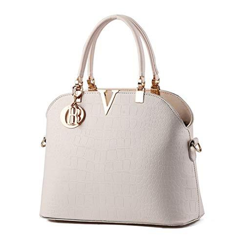 Lujo Pu Cocodrilo Crossbody Elegante Bag Cuero Mujeres White Bolso Black La Messenger qZOwtW5