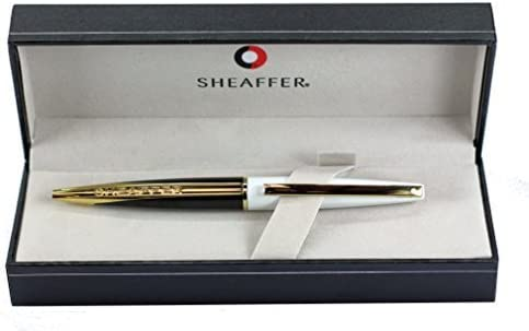 Sheaffer Taranis - Bolígrafo de punta redonda (chapado en oro, color blanco y negro brillante, en caja de regalo): Amazon.es: Oficina y papelería