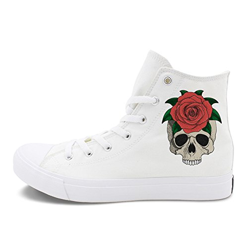 up High White Flats Sneakers Shoes Skull Canvas D Size Unisex Top Print for Honeystore Plus Women and Men Halloween Lace xnvWqFgpz