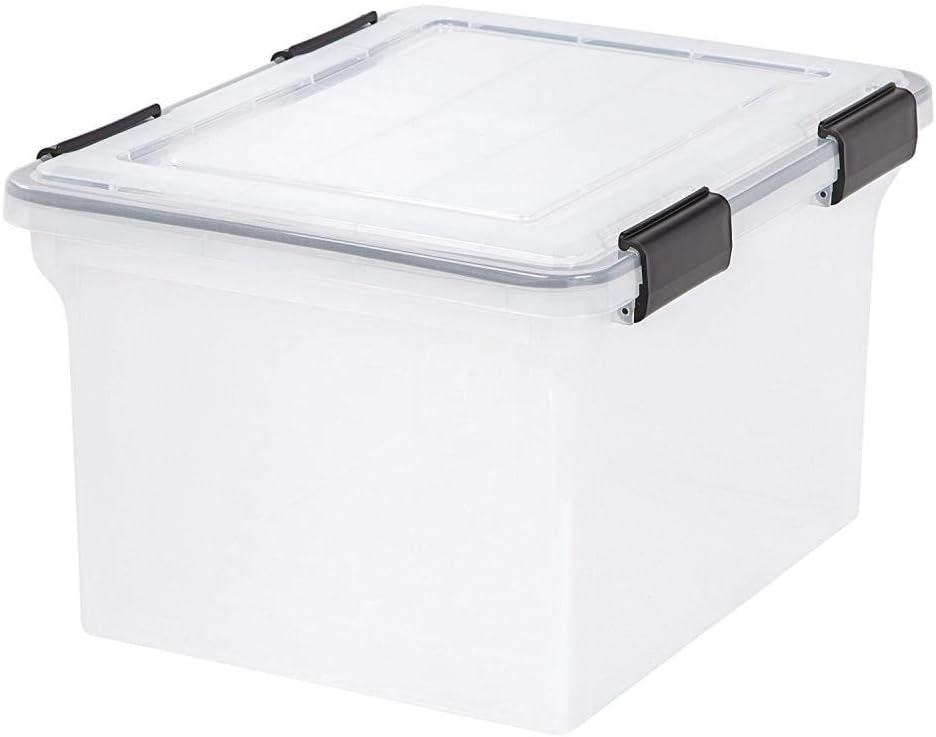 IRIS 耐候性収納ボックス 透明 気密 リットル 耐候性 積み重ね ブラック モジュラー アイリス 密閉容器 32 Qt.
