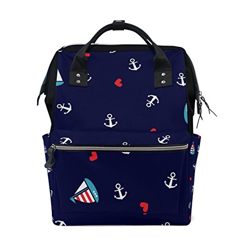 My Little Nest Large Capacity Baby Diaper Bag Cute Anchors Sailboat Durable Multi Function Travel Backpack for Mom Girls