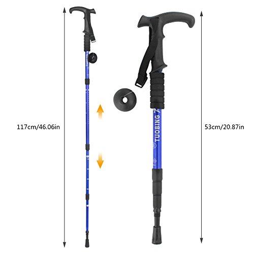 Hiking Stick(2 Packs) PAMISO T-shape Trekking Hiking Sticks Poles Alpenstock Adjustable telescoping Anti Shock Nordic Walking mountaineering (Blue)