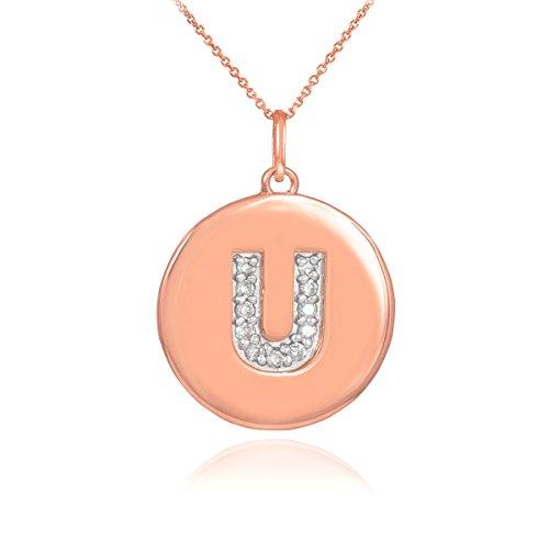 """14 ct 585/1000 Or Rose Initiale """"U"""" Initiale Diamant-Disc-Pendentif Collier"""
