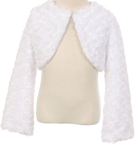 Big Girls Cute Fluffy Chenille Fur Flower Girls Bolero Jacket Coat (10GG7) White 12