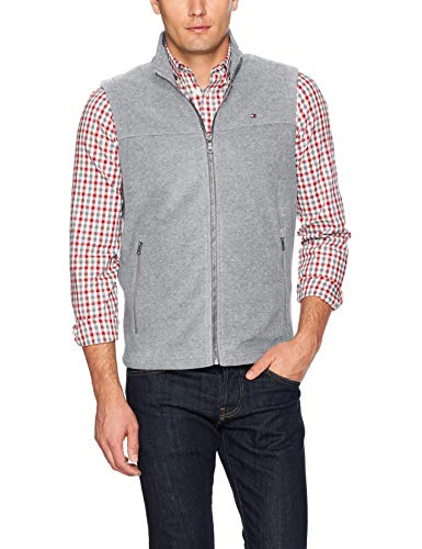 Tommy Hilfiger Men's Polar Fleece Vest, Light Grey, Medium ()
