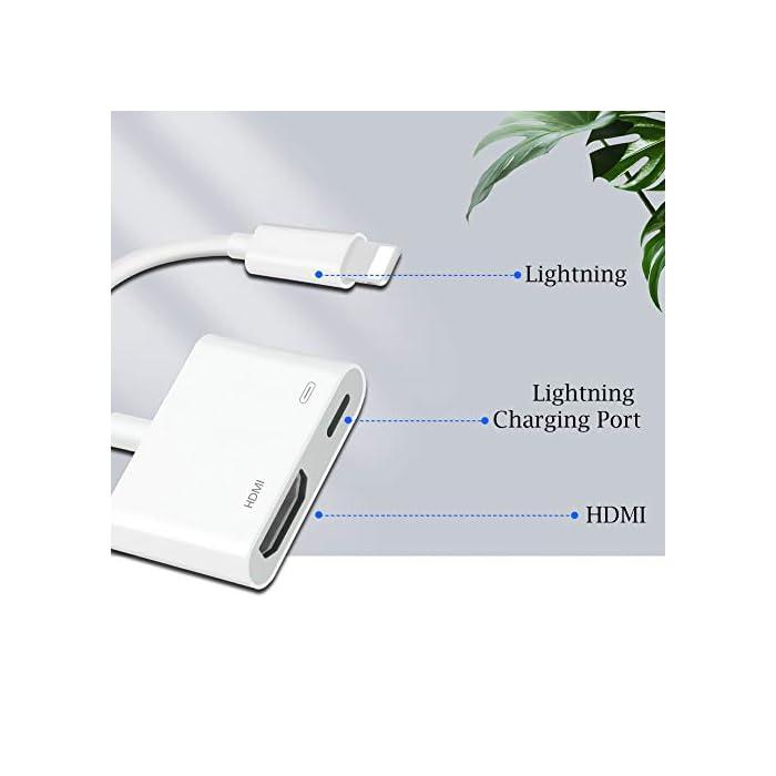 41NRodk8e7L Haz clic aquí para comprobar si este producto es compatible con tu modelo ENCHUFE Y REPRODUCCIÓN: el adaptador de cable HDMI admite la duplicación de su teléfono / teclado, incluidos videos, aplicaciones, presentaciones, sitios web y presentaciones de diapositivas. Si conecta cada interfaz al dispositivo correspondiente, la conexión se establece automáticamente. Adaptador AV HDTV FULL 1080P EDICIÓN : Películas, programas de TV, grabaciones de video en pantallas grandes en hasta 1080P HD. Ofrece una experiencia visual ultra clara a una velocidad excesiva.