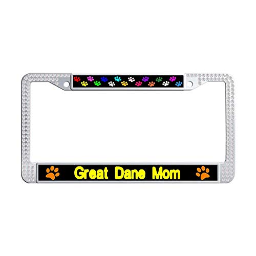 Nuoyizo Great Dane Mom White Bling Rhinestones License Plate Frame Vintage Sparkle Crystal Metal Waterproof Stainless Steel License Plate Frame Holder ()