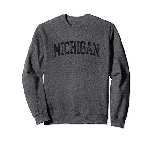 Unisex Vintage Michigan Crewneck Sweatshirt College Style Sports US Small Dark Heather