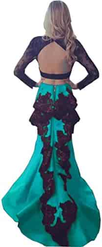 5267bb0820a Chady Two Pieces Prom Dresses 2018 Long Sleeves Lace Appliques Backless  Black and Red Mermaid Pageant
