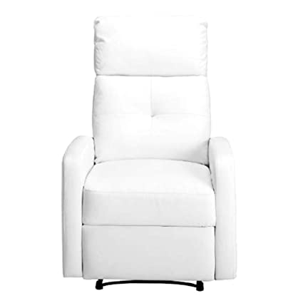 Admirable Amazon Com Reclinable Chair White Artificial Leather Wood Machost Co Dining Chair Design Ideas Machostcouk