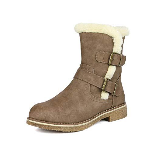 Lepore Khaki Mid Calf Faux Fur Winter Boots Size 7.5 B(M) US ()