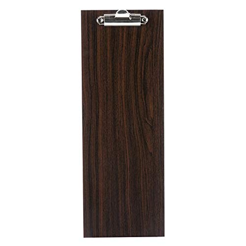 6-Pack 12 1/2'' x 4 1/2'' Natural Wood Menu Holder with Clip - Sleek, Contemporary Appearance by HEDY4LESS (Brown)