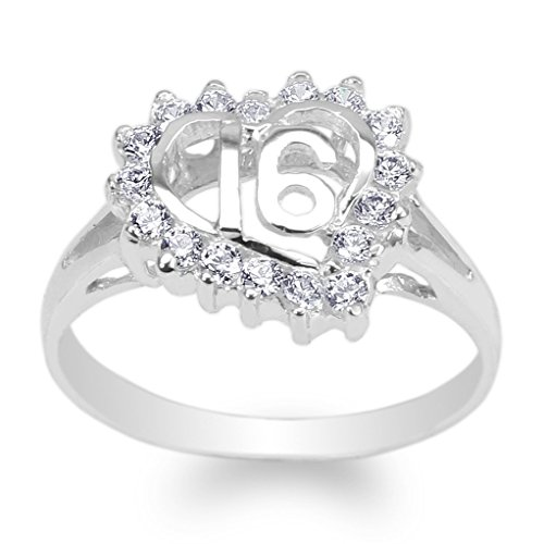 JamesJenny Womens White Gold Plated Round CZ Sweet 16 Heart Ring Size 9