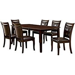 Furniture of America Carlson 7-Piece Dining Table Set with 18-Inch Expandable Leaf, Dark Cherry