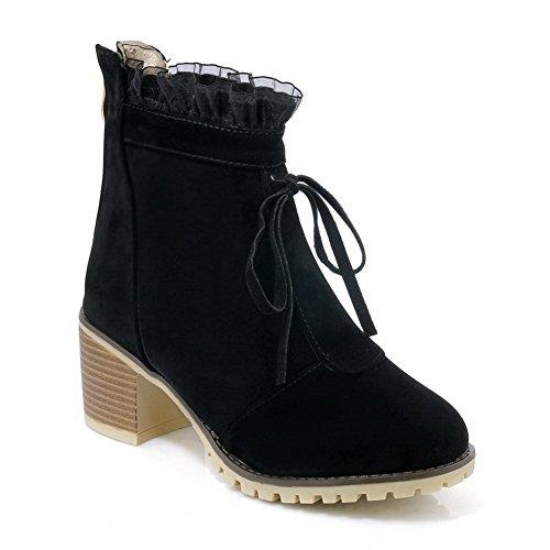 BalaMasa Womens Fashion Dress Slip-Resistant Suede Boots ABL10219 Black