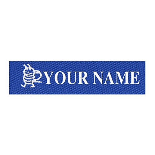 Wunderlabel Standard Woven Label Men Boys Name Tag Andrew Iron on Art Craft Crafting Ribbon Decorative Tags on Clothes Clothing Garment Fabric Material Embroidered Labels Tags, White on Blue, 25 Qty ()