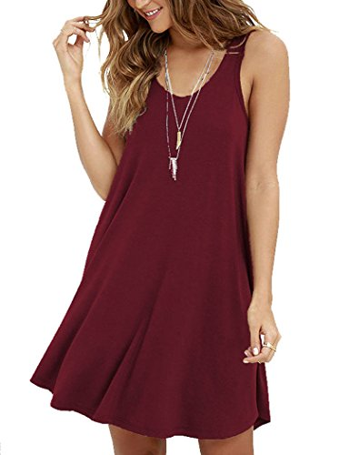 MOLERANI Women's Casual Swing Simple T-shirt Loose Dress, Small,  Wine Red ()