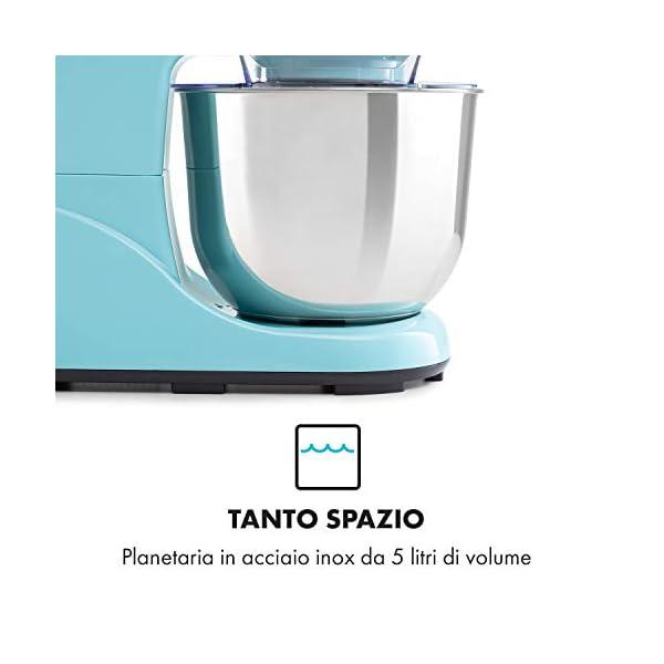 Klarstein Bella Pico 2G - Robot da Cucina, Mixer, Impastatrice, 1200 W / 1,6 PS, 6 Livelli, Sistema di Miscelazione… 5