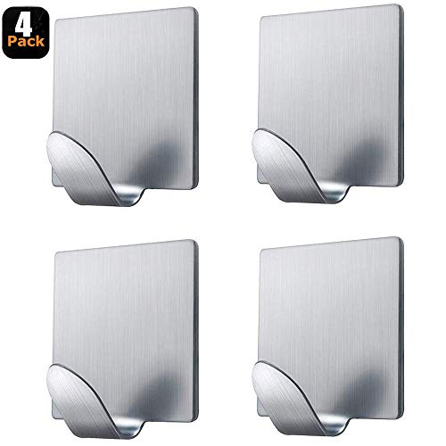 Textured White Bath Exhaust - Fotosnow Adhesive Hooks Wall Hooks Hanger Stick on Hooks Strong & Durable for Hanging Kitchen Bathroom Home Office Stainless Steel-4 Packs