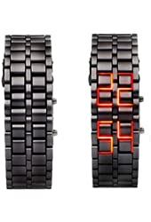 Leobeer Iron Faceless Red Binary LED Wrist Watch for Man Black