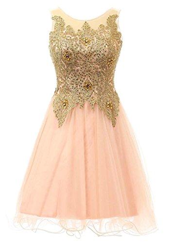 HarveyBridal Gold Lace Short Prom Dress Backless Tulle Graduation Dress Pink