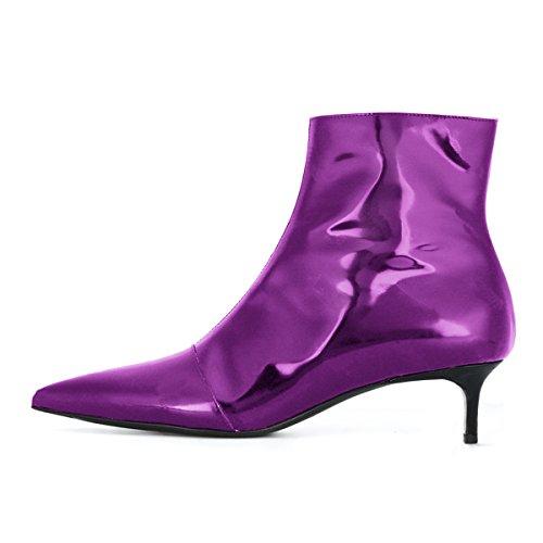 Ankle Stiletto Women Boots Booties Toe YDN Office Pointy Heels Kitten for Low Purple Western dzxqqwXgI