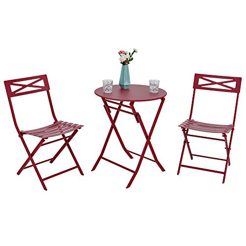 Furniture Adorable (PHI VILLA Red 3 Pc Outdoor Weather-Resistant Metal Folding Table and Chairs Bistro Furniture Set)